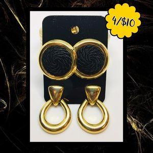 💛$4ea💛4/$10💛 2PR Gold/Black Earrings
